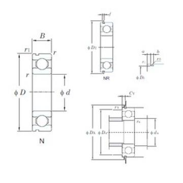 17 mm x 40 mm x 12 mm  KOYO 6203NR deep groove ball bearings