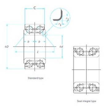 35 mm x 64 mm x 37 mm  SNR GB35307 angular contact ball bearings